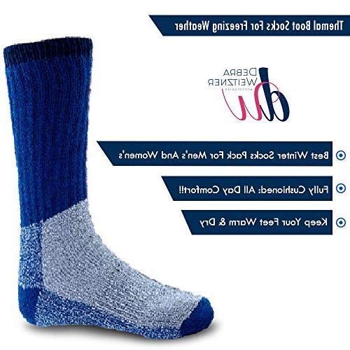 Mens Extreme Cold Boot Socks 6-pack DEBRA WEITZNER, B,