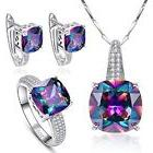 Multi Crystal Jewelry Set - Necklace Ring and Earrings