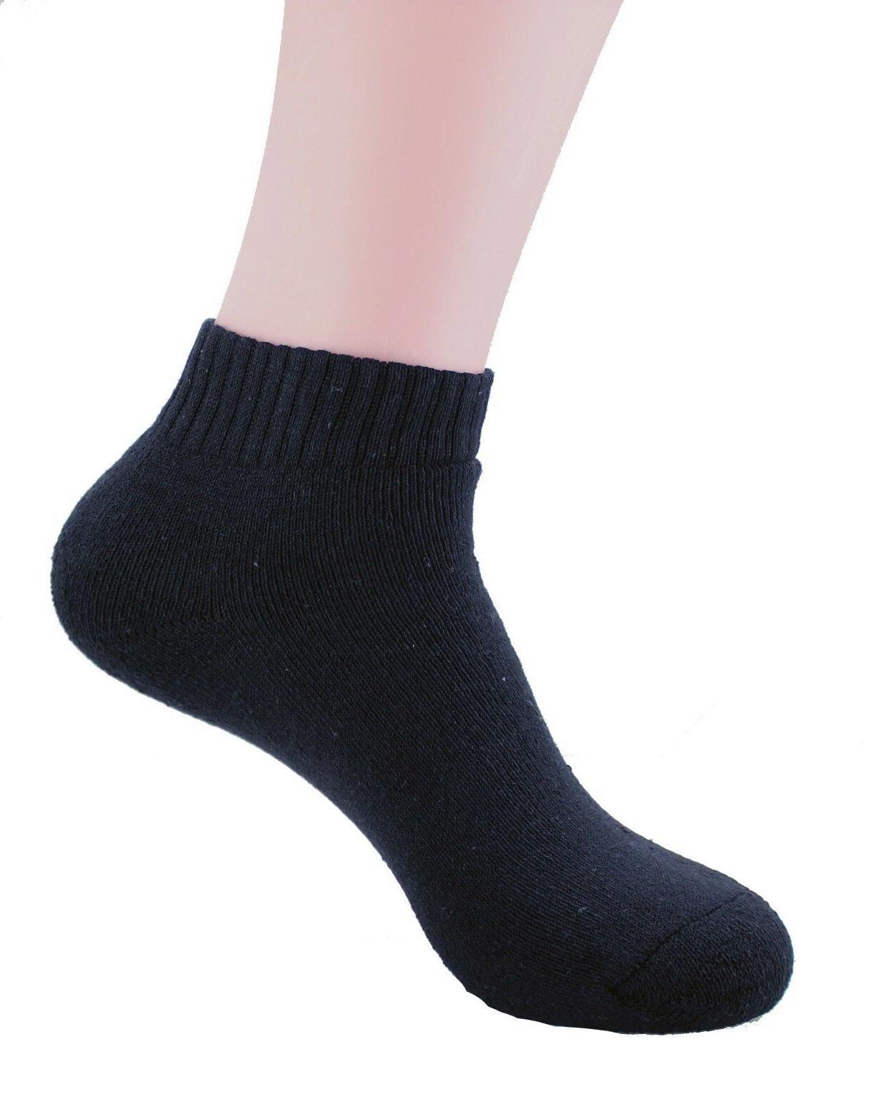 New 3-12 Pairs Black Ankle Quarter Socks Cotton Sports Low Cut