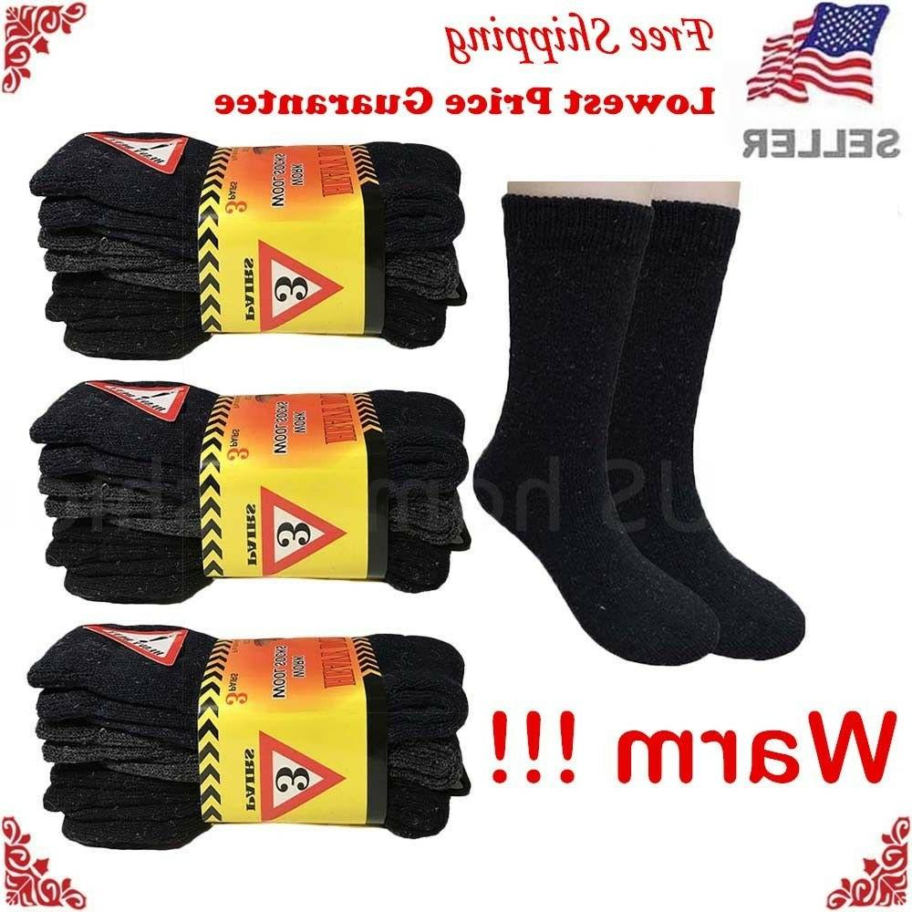 New 3 Mens Winter Heavy Work Wool Cotton Size 9-13