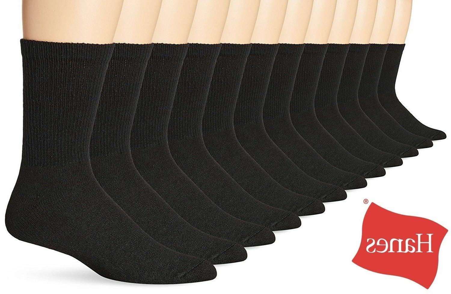 Hanes New Classics 6 Pack Premium Men's Socks, Crew, Black,