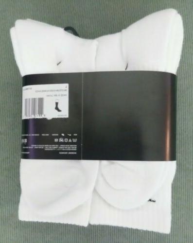 NEW 6 PACK Womens NIKE Training Spandex Cushioned WHITE Socks