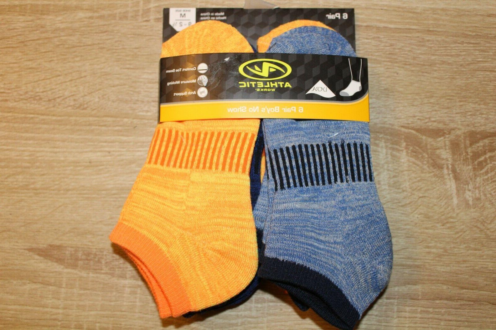 new 6 pair boys no show socks