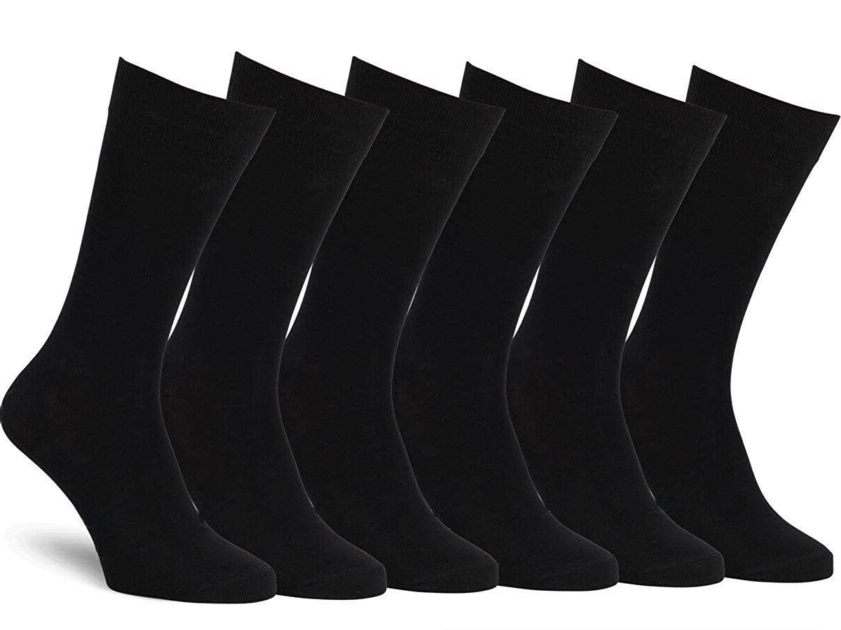 new 6 pairs mens black classic dress