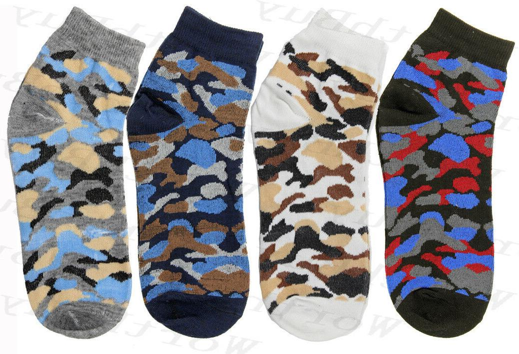 6-12 Pairs Cotton Stretch Camouflage