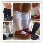 New Girls Lace Knee Socks Boot Sock Black  or White M2M Mati
