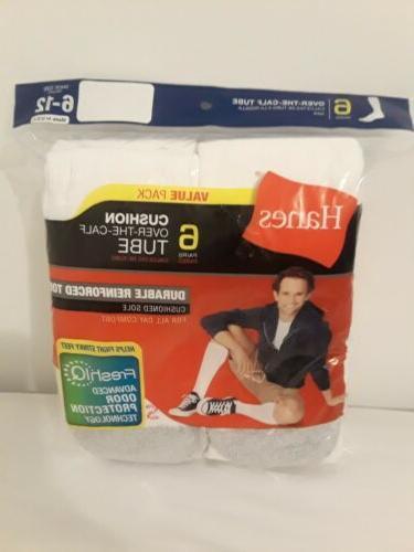 New Men's Hanes 6 Pack  White Over The Calf Tube Socks Shoe