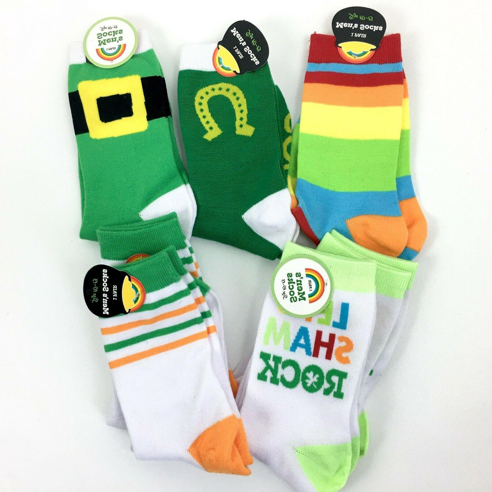 NEW Men's Assorted Novelty Crew Socks 7 Pair Rainbow Lucky S