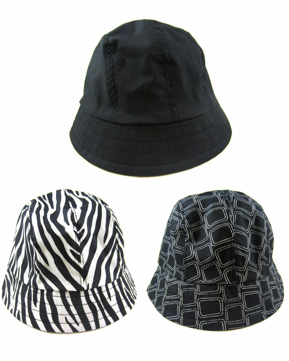 NEW SET of 3 Women's Totes Rain Bucket Hats Black, Squares &