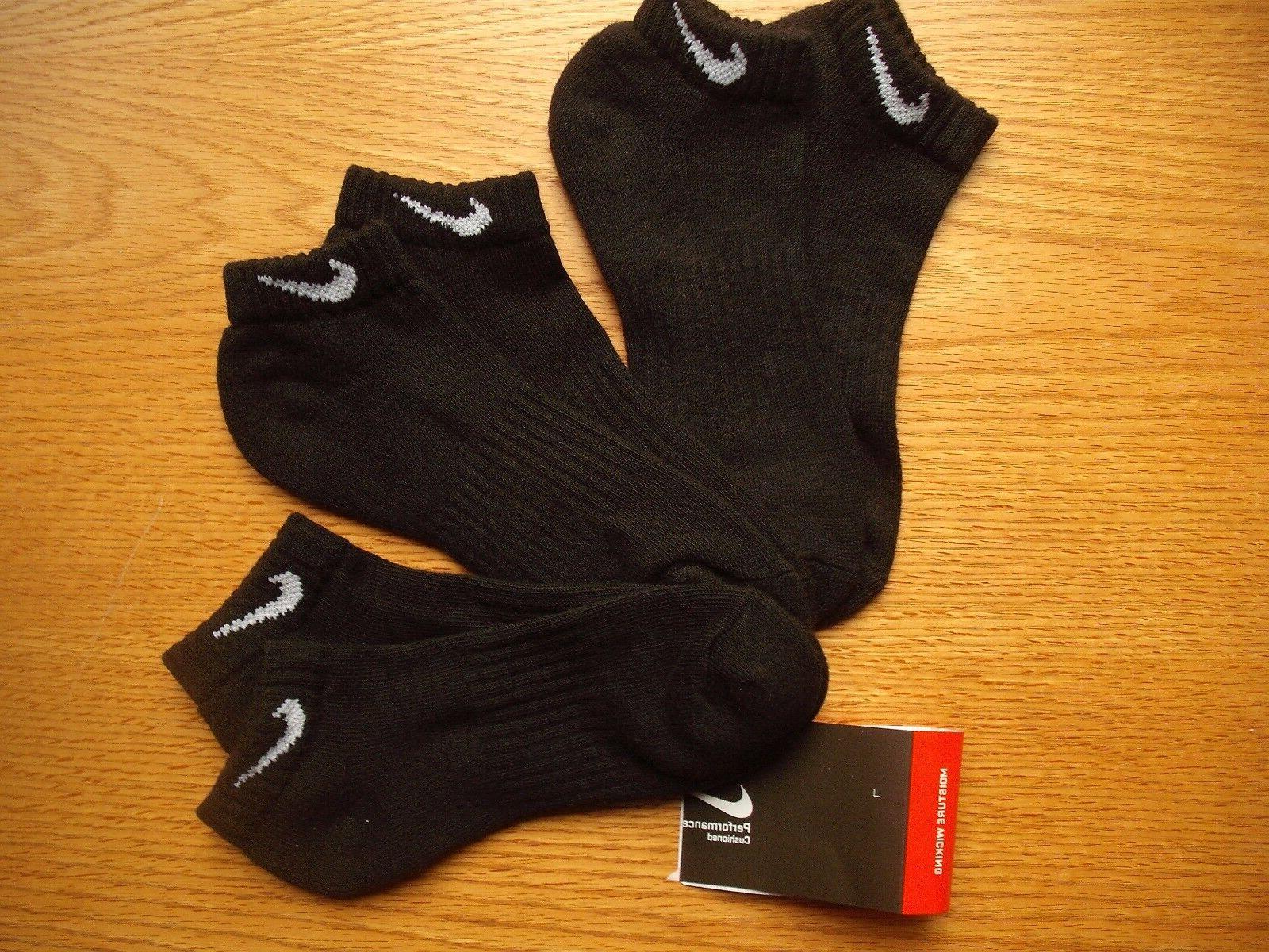 Mens Nike NWT Low-Cut Socks LOW PRICE 3prs Black Authentic S