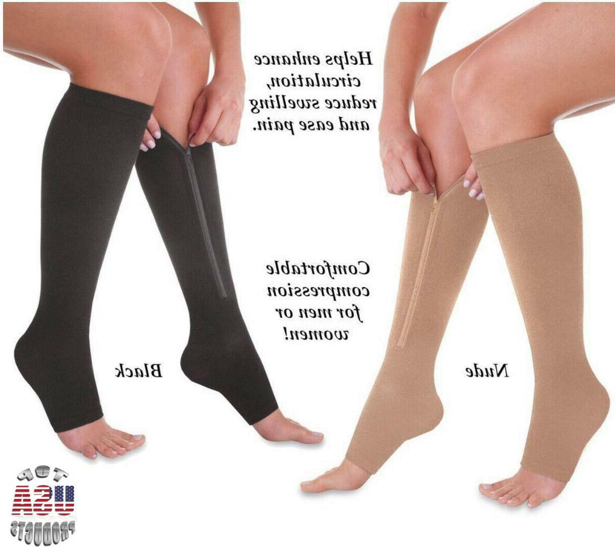 Open Toe Compression Socks Calf Women