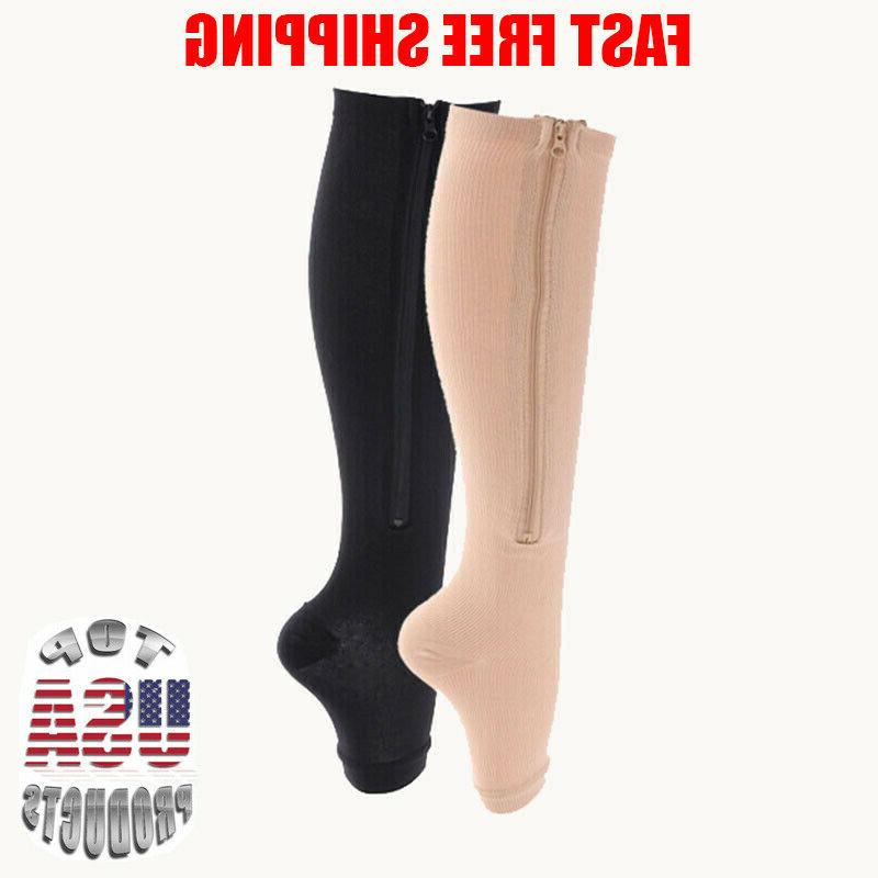 Open Zippered Compression Socks Calf Men Women