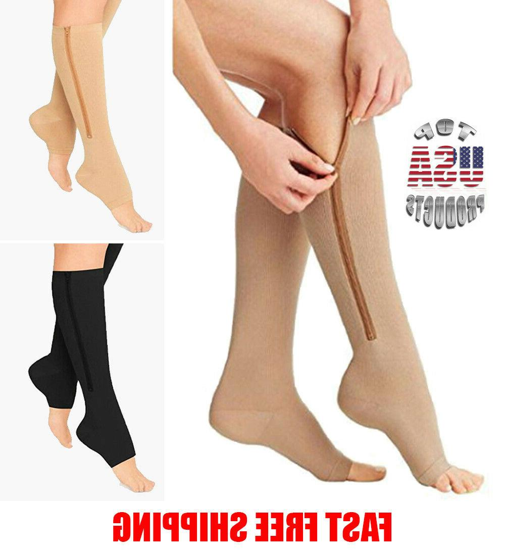 Open Toe Zippered Compression Calf Men Women