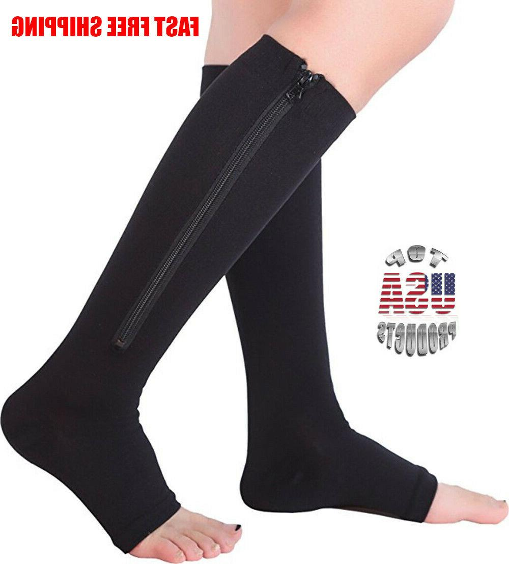 open toe zippered support stockings leg calf