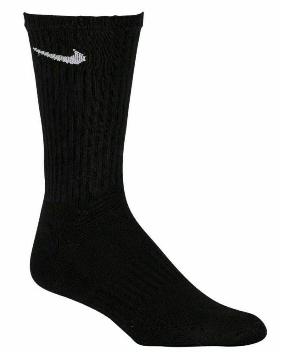 Nike 6 Pair Crew Black or White Sz 8-12