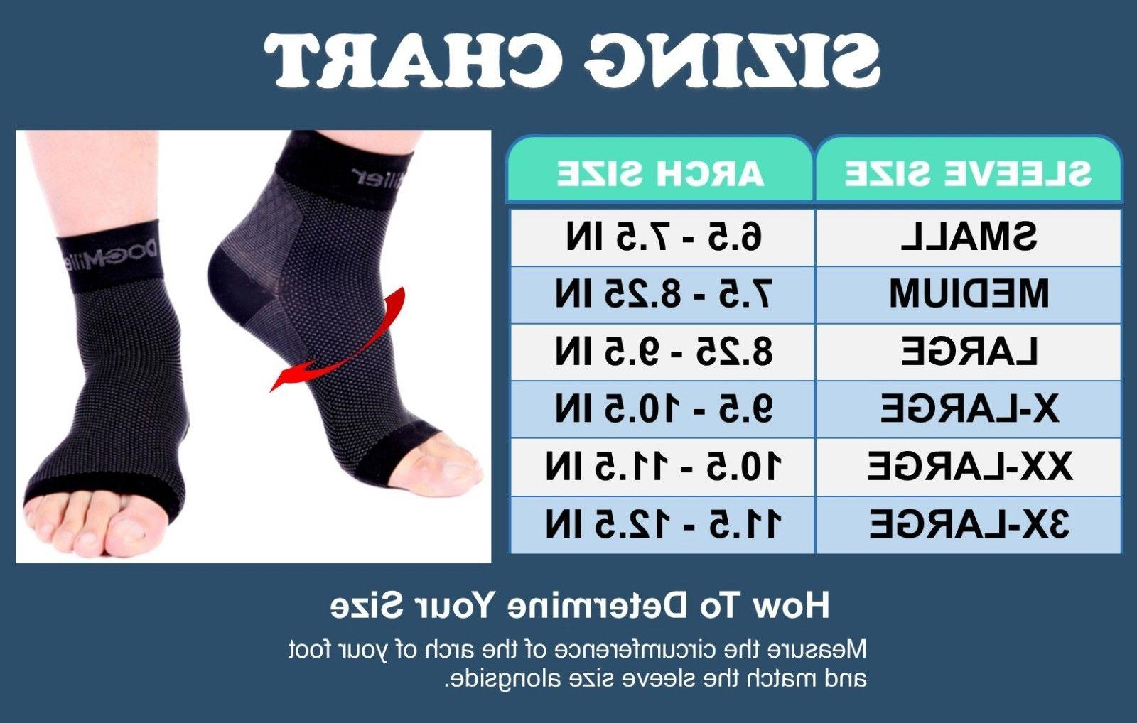Doc Fasciitis Arch Support Compression Ankle Brace BLACK
