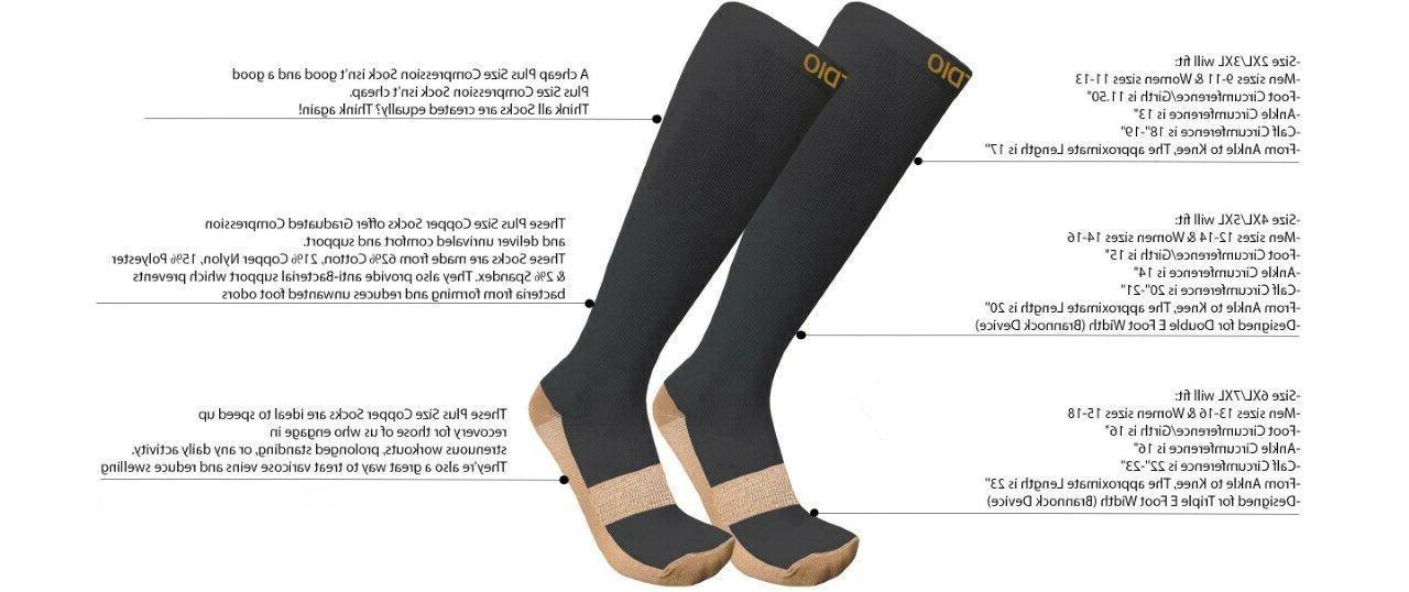 Plus Size Wide 15-20mmHG High Copper Compression Socks