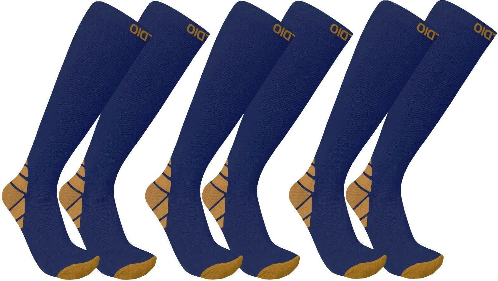 Plus 3-Pair 20-30mmHG Compression Support Socks