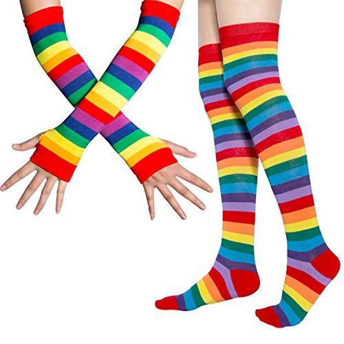 rainbow stripe knee thigh socks