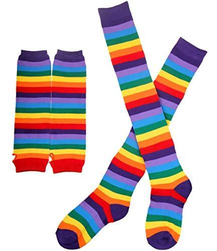 Chalier Rainbow Knee Thigh High Socks Arm Warmer 2 Pairs Size
