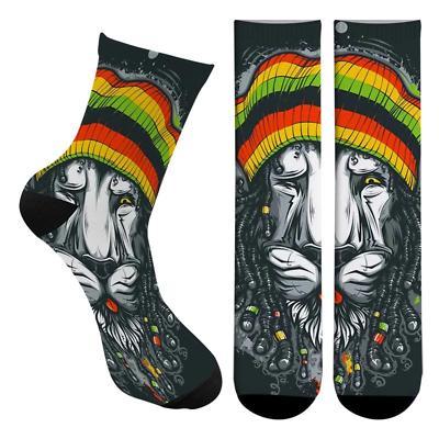Rasta Lion Bob Marley Men's Crew Socks OSFM