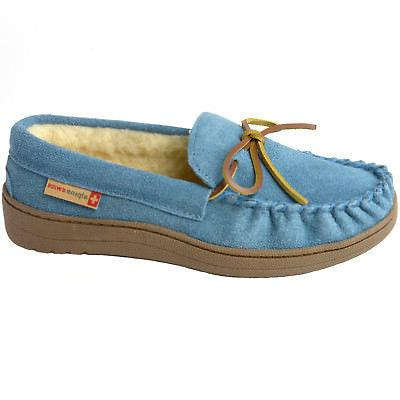 Alpine Suede Shearling Moccasin Slippers House Slip On