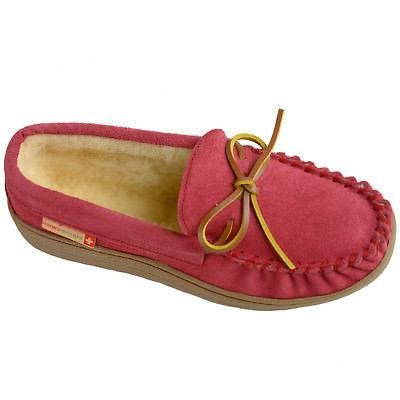 Alpine Swiss Sabine Suede Shearling Moccasin House Shoes