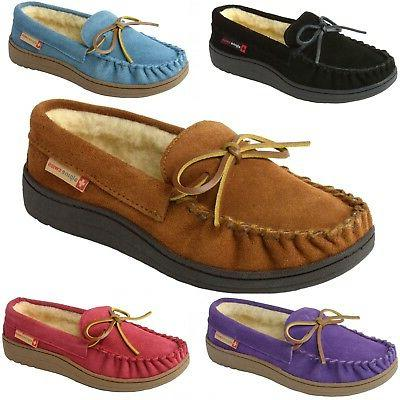 sabine womens suede shearling moccasin slippers house