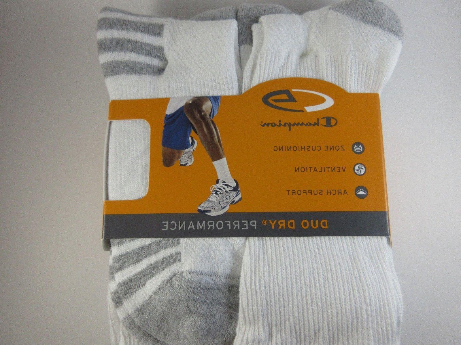 SALE Men's Champion Duo Crew Sock White Size pk NWT