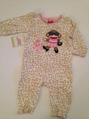 Sock Monkey Baby Girl Coverall Pajamas Size 3 6 9 12 Months