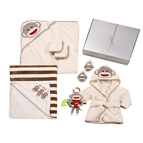 sock monkey bath bed set