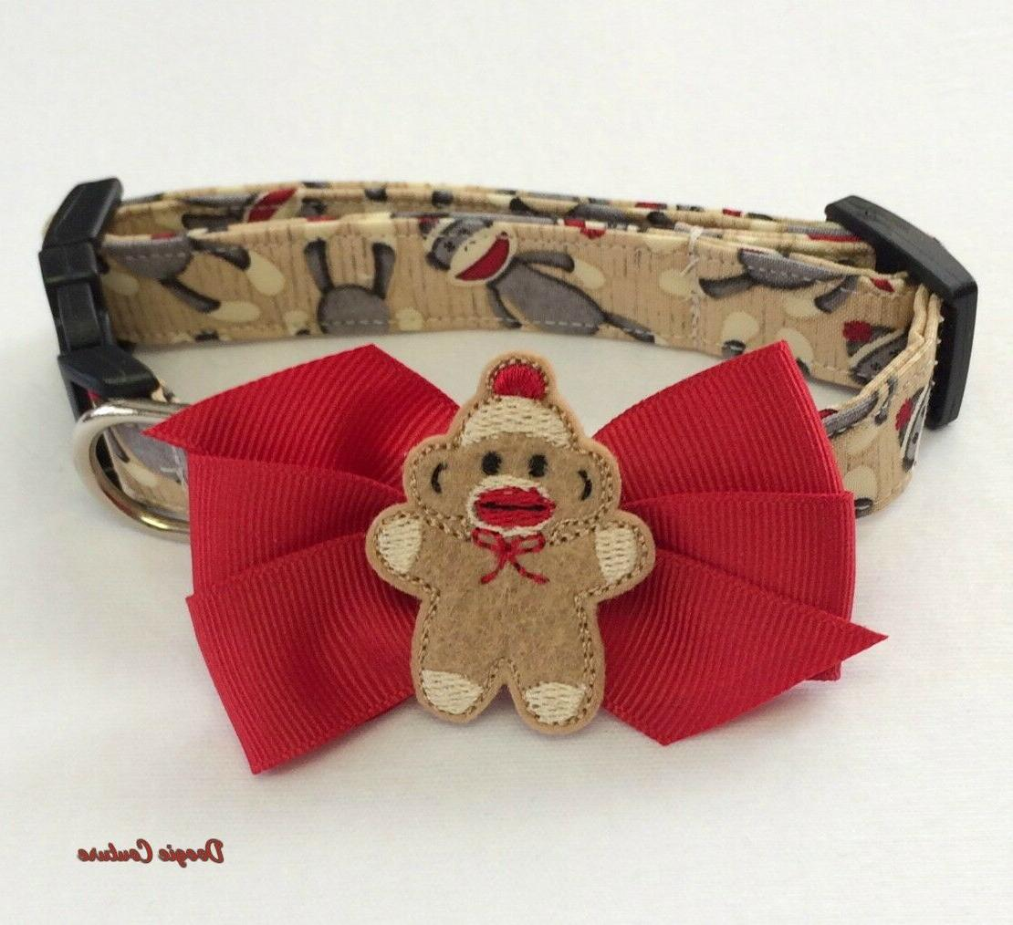 sock monkey inspired dog collar with bow
