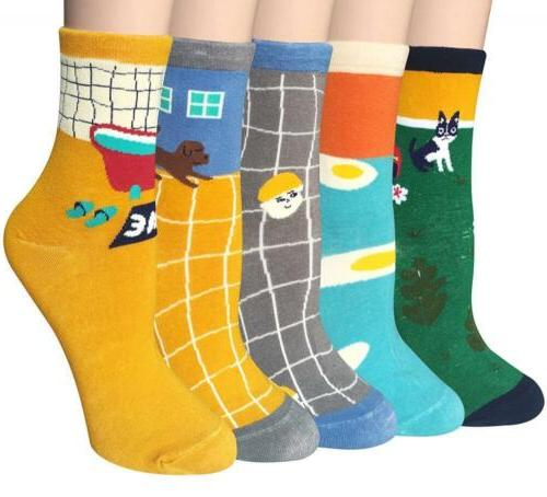 Socks Chalier 5 Pairs Womens Cute Animal Casual Cotton Crew