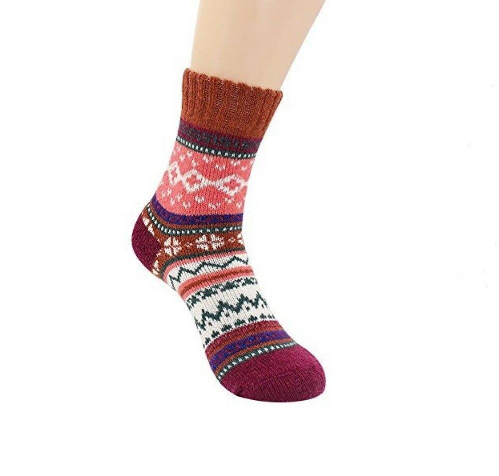 5 Pairs Socks Vintage Knitting Warm