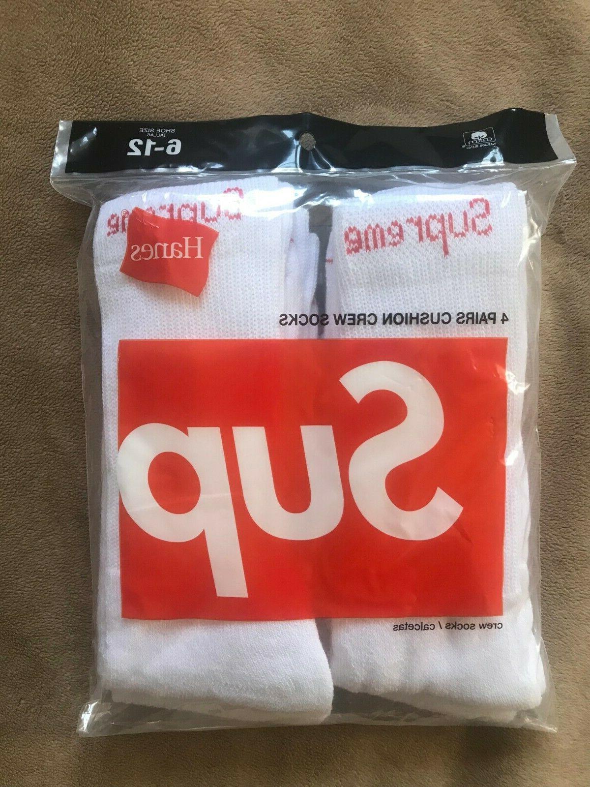 supreme hanes crew socks white new 1