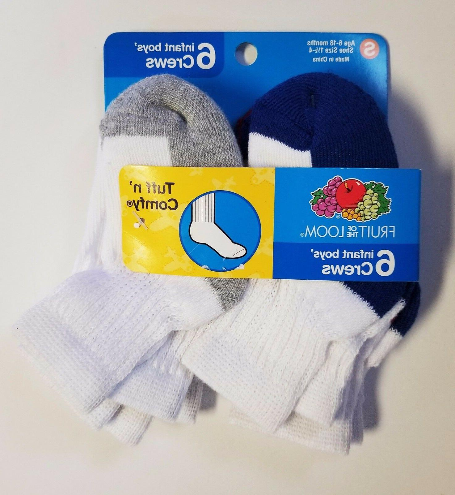 Fruit of the Loom Tuff n Comfy Toddler Boys Socks 6 pair Sz