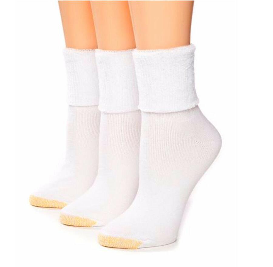 Ultra Tec Terry Cuff Socks 9.5-11 White Gold Toe Womens 3-pk