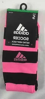 Adidas Girls YOUTH Soccer Metro Hoop Socks 1 Pair Black/Pink