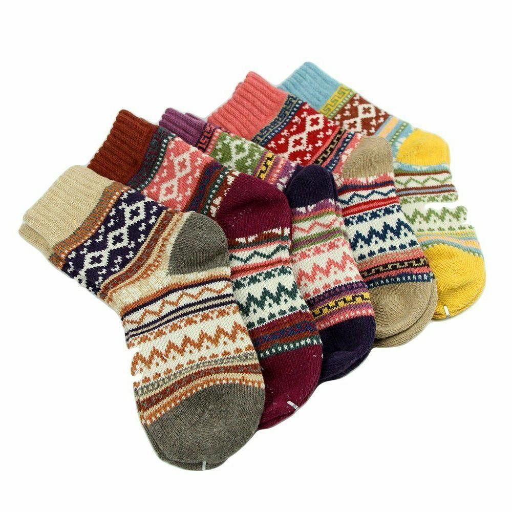 Vintage Winter Thick Crew Socks Loritta Pairs