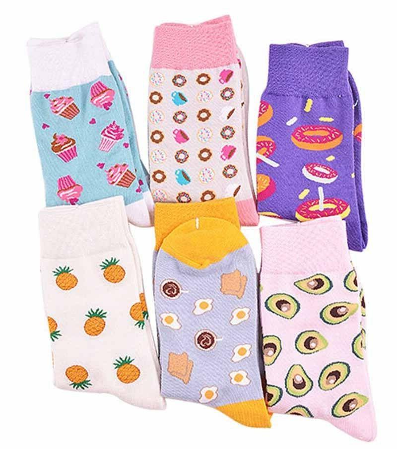 Warm Kawaii Women's Socks Harajuku Egg Pineapple Avocado Cut