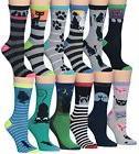 Tipi Toe Women's 12-Pairs Fashion Crew Novelty Cat Socks, so