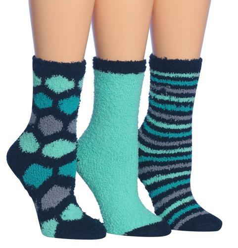 Tipi Toe Women's 3-Pairs Winter Snoflakes Anti-Skid Soft Fuz