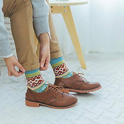 Loritta 5 Pairs Vintage Style Warm Crew Socks,