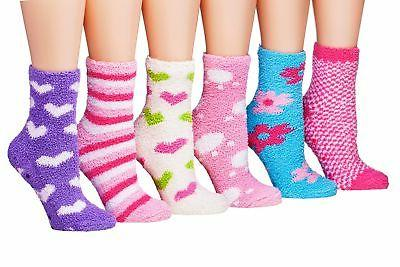Tipi Toe Women's 6-Pairs Patterned Anti-Skid Soft Fuzzy Crew