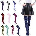 Women's Plus Size Striped Thigh High Socks Sheer Over The Kn