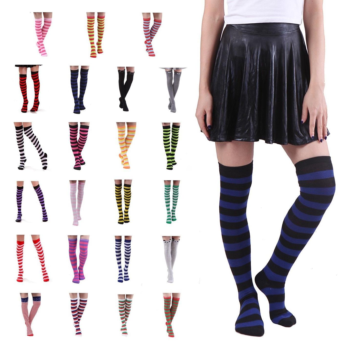 women s striped thigh high sexy over