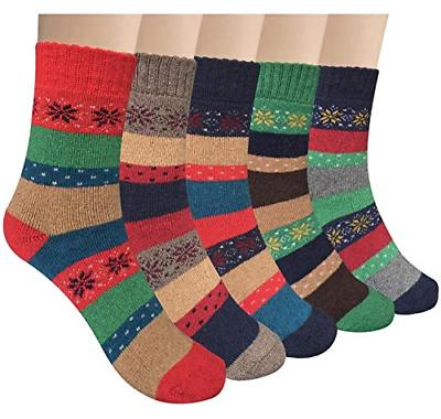 YSense Women's Thick Knit Warm Casual Wool Crew Winter Socks