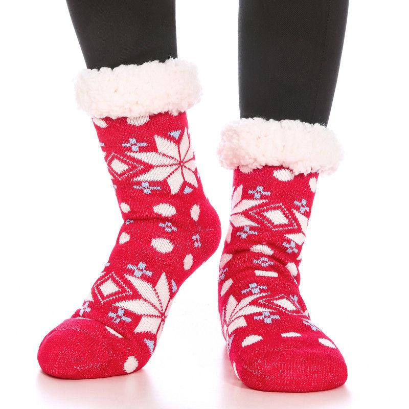 Women's Thicken Warm Winter Socks Wool Cute Snow Print Cashm