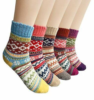 Warm Wool Crew Socks Womens 5 Pairs Vintage Style Winter Kni