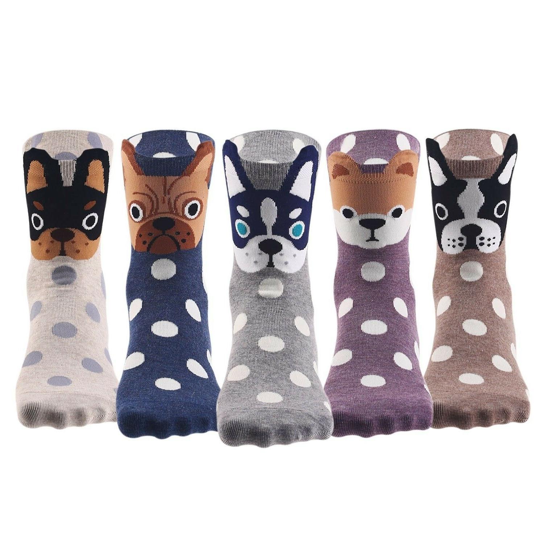 Keaza Womens Dog Cotton Socks Crew Novelty Liner Socks 5 pai